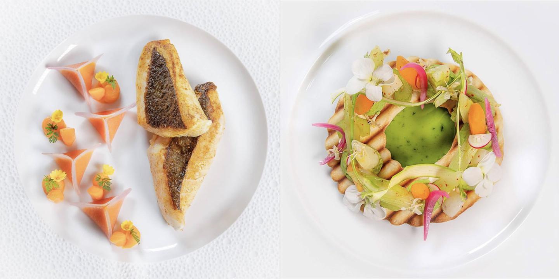 Слева:филе солнечника с морковью, специями и шафраном. Справа:сезонные овощи с тонким хрустящим пирогом, мягким козьим сыром и салатом