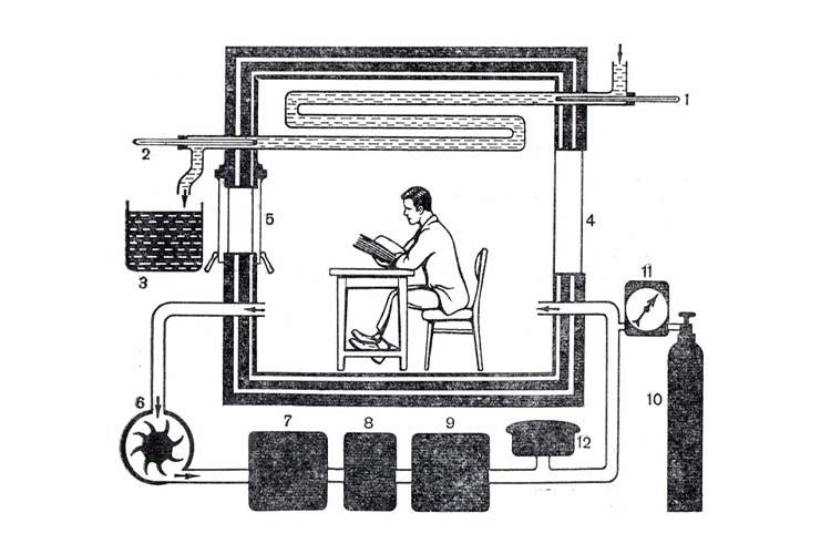 Схема калориметра. Продуцируемое организмом человека тепло измеряют с помощью термометров (1 и 2) по нагреванию воды, протекающей по трубам в камере (4). Количество протекающей воды измеряют в баке (3). Через окно (5) подают пищу и удаляют экскременты. Посредством насоса (6) воздух извлекают из камеры и прогоняют через баки с серной кислотой (7 и 9) (для поглощения воды) и с натронной известью (8) (для поглощения углекислого газа). Кислород подают в камеру из баллона (10) через газовые часы (11). Давление воздуха в камере поддерживают на постоянном уровне посредством сосуда с резиновой мембраной (12)