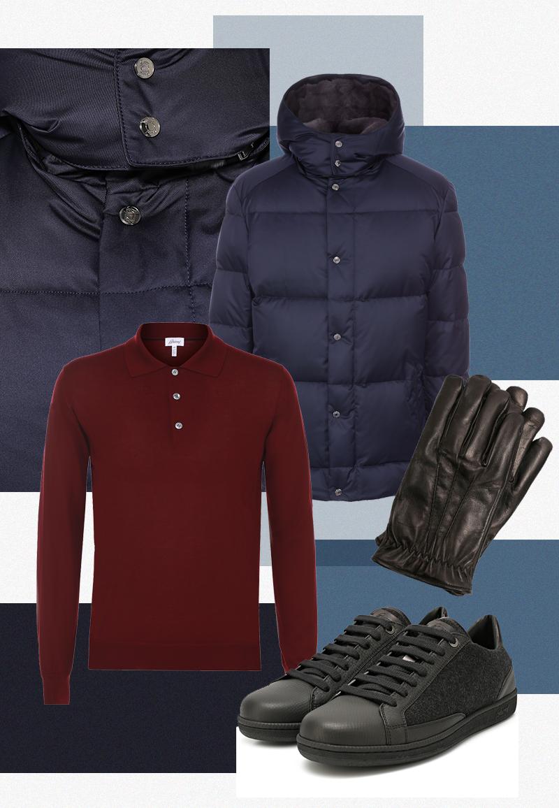 Рубашка-поло с длинными рукавами из смеси шерсти и кашемира, кожаные перчатки, кроссовки из кожи и шерсти, все Brioni