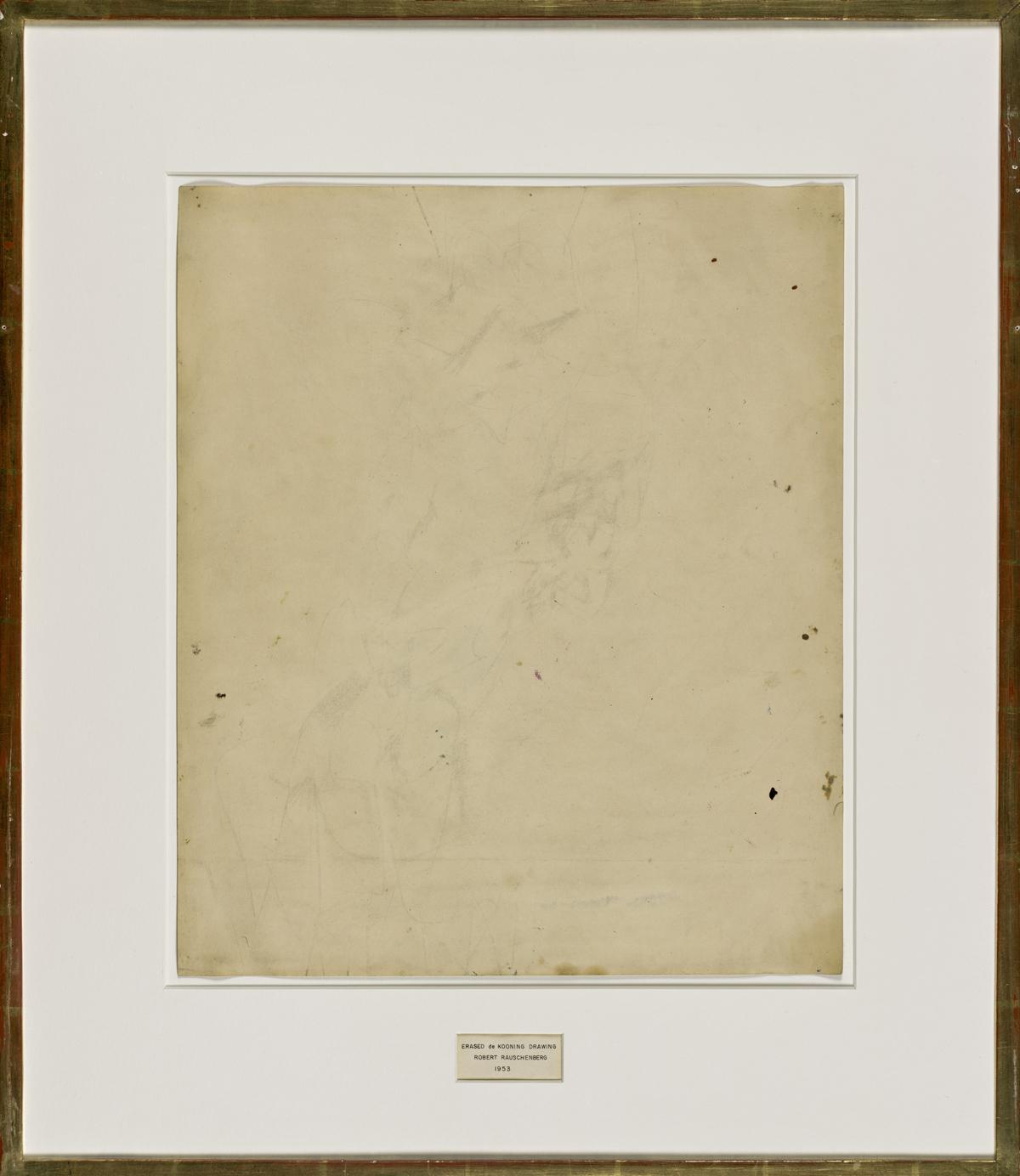 Роберт Раушенберг. «Стертый рисунок Де Кунинга», 1953