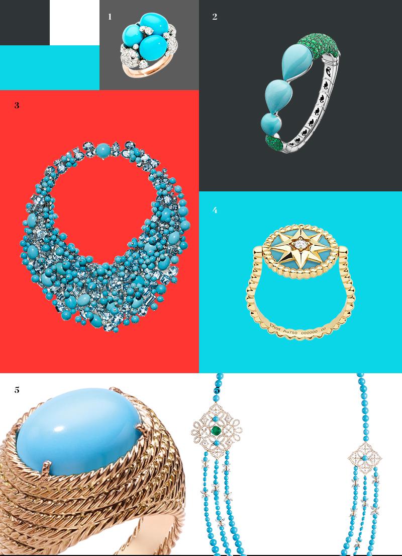 1. Кольцо Capri, Pomellato |2. Кольцо, de Grisogono |3. Ожерелье Blue Book, Tiffany & Co. |4. Кольцо Rose des vents, Dior Joaillerie| 5. Кольцо и колье Extremely Piaget, Piaget