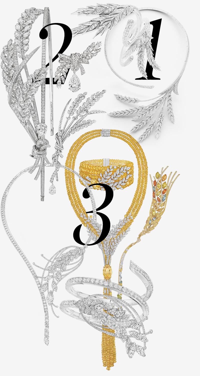 1. Кольцо, браслет, колье Blé d'été, Boucheron  2.Брошь, кольцо, тиара Offrandes d'été, брошь Moissons sous le Vent, Chaumet   3. Браслет и колье Legende de Blé, браслет и колье Moisson d'or, брошь L'Epi, Chanel Fine Jewellery