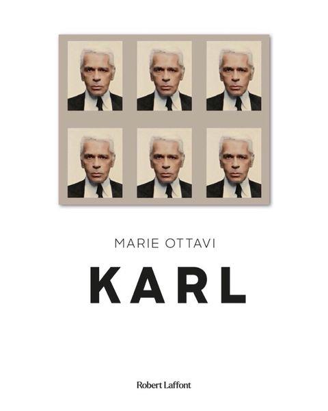 Обложка книги «Карл» Мари Оттави с паспортными портретами КарлаЛагерфельда