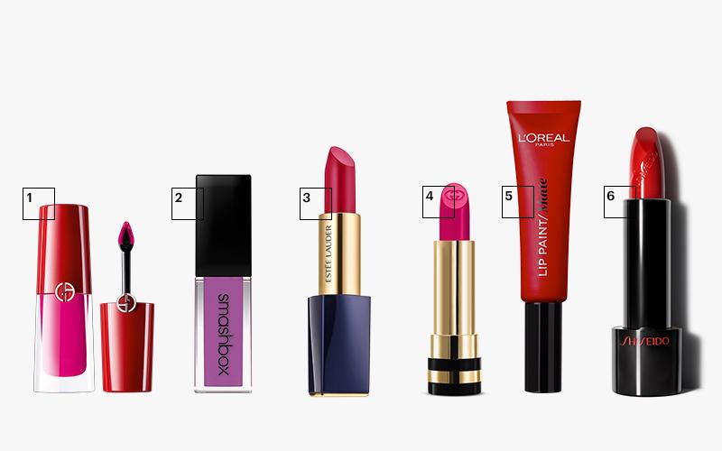 1| Lip Magnet (оттенок 501), Giorgio Armani 2| Always On (оттенок Some Nerve), Smashbox 3| Pure Color Envy Matte (оттенок Unattainable), Estée Lauder 4| Sheer Lipstick (оттенок 640), Gucci 5| Lip Paint Matte (оттенок 204), L'Oréal Paris 6| Помада Rouge Rouge (оттенок Poppy), Shiseido