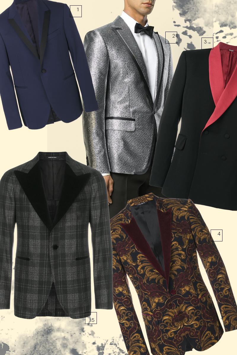 1) Пиджак-смокинг, Versace 2) Смокинг, DSquared2 3) Двубортный пиджак-смокинг, Stella McCartney 4) Бархатный пиджак-смокинг, Dolce & Gabbana 5) Клетчатый пиджак-смокинг, Tagliatore