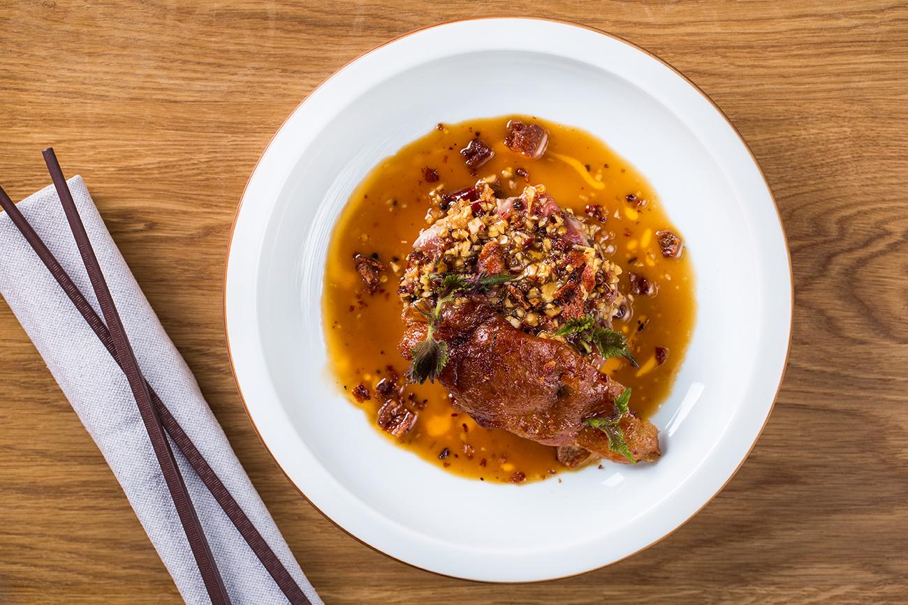 Тартар из утиной грудки по-сычуаньски (ресторан Hong Kong)