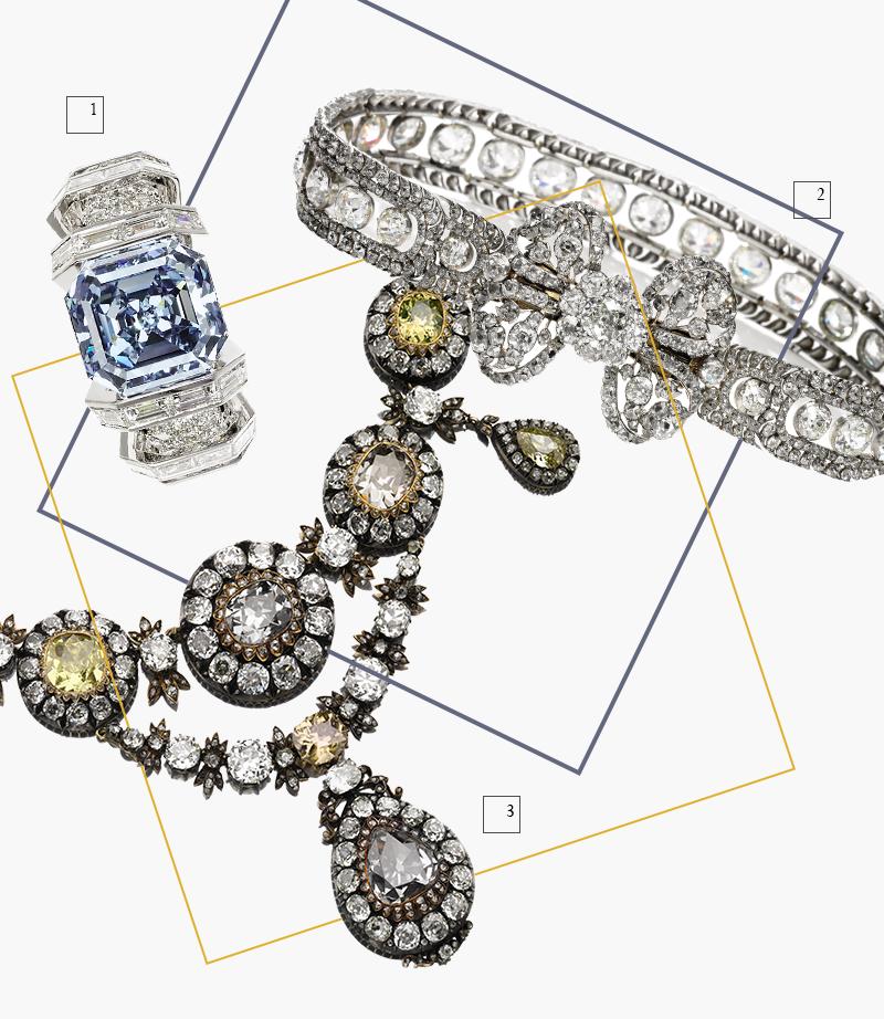 1. Кольцо Cartier с ярко-голубым бриллиантом весом 8,01 карата 2. Бриллиантовое ожерелье с застежкой в виде банта 3. Ожерелье с антикварными цветными бриллиантами