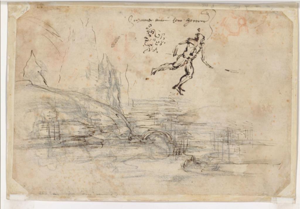 Леонардо да Винчи. Пейзаж Санта-Мария-делла-Неве, 1473 (вид сзади)