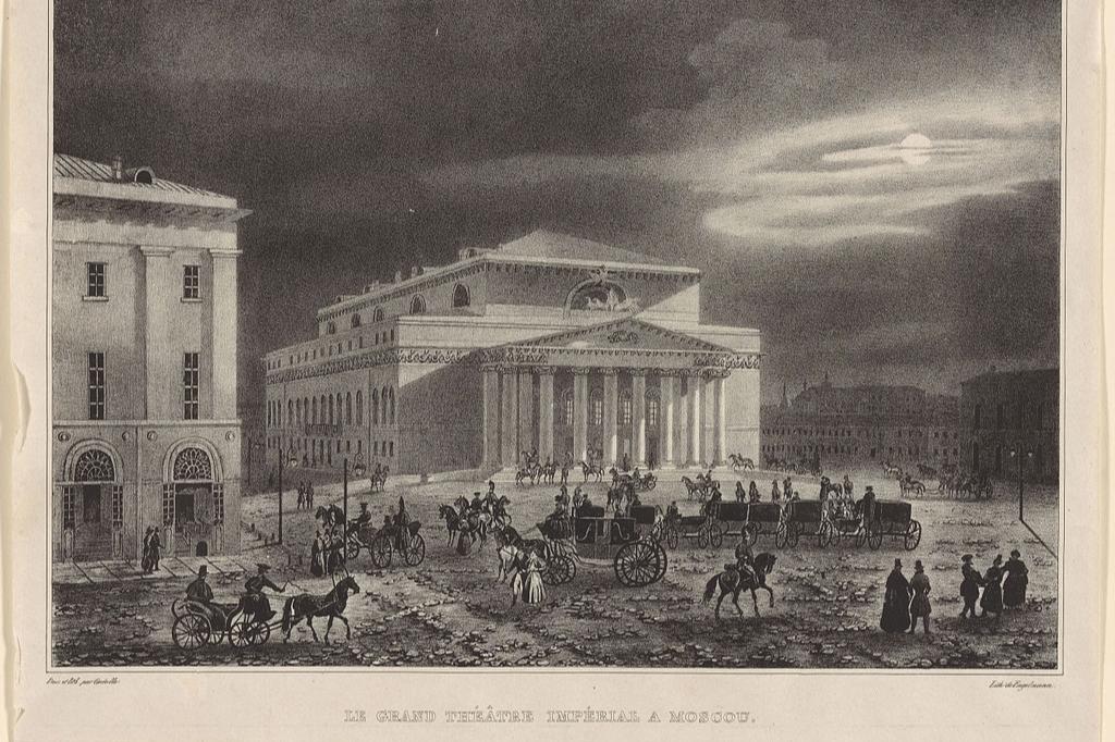 Здание Большого театра на литографии Огюста Кадоля, 1830 год
