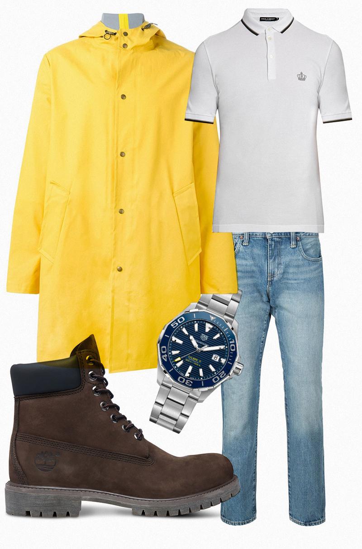 Поло, Dolce & Gabbana |Джинсы, Levi's |Ботинки, Timberland |Плащ, AMI Alexander Mattiussi |Часы Acquaracer 300 m, Tag Heuer