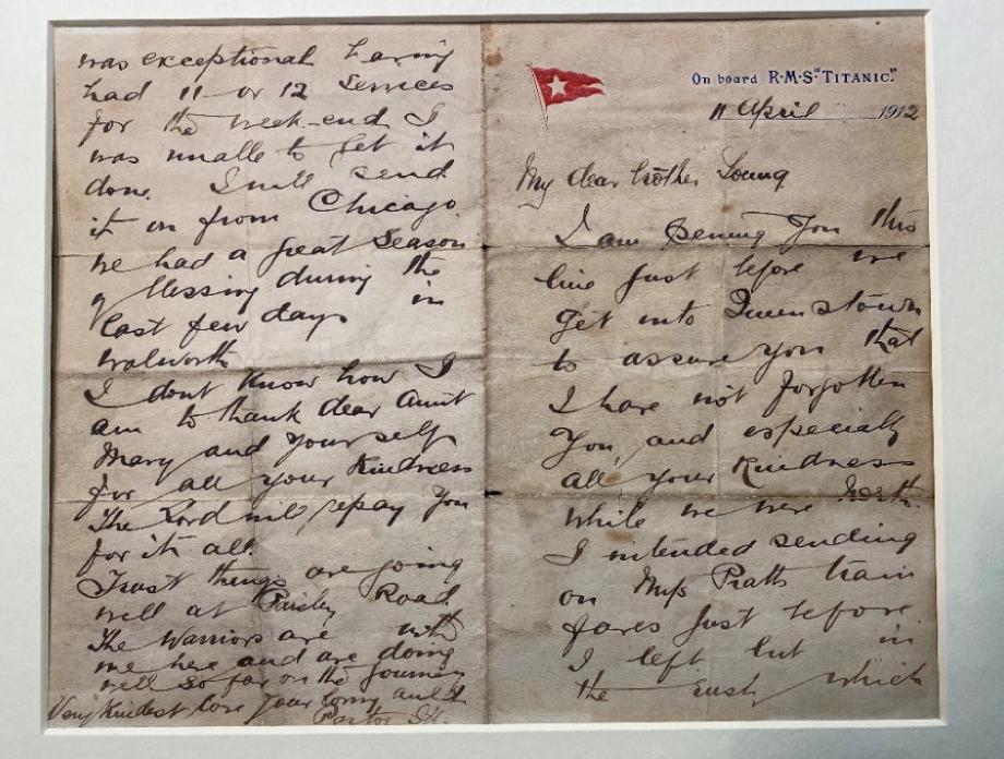 Письмо, которое Джон Харпер написал на «Титанике» 12 апреля 1912 года