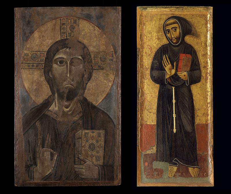 Икона «Христос Благословляющий» и Маргаритоне д'Ареццо «Святой Франциск Ассизский»