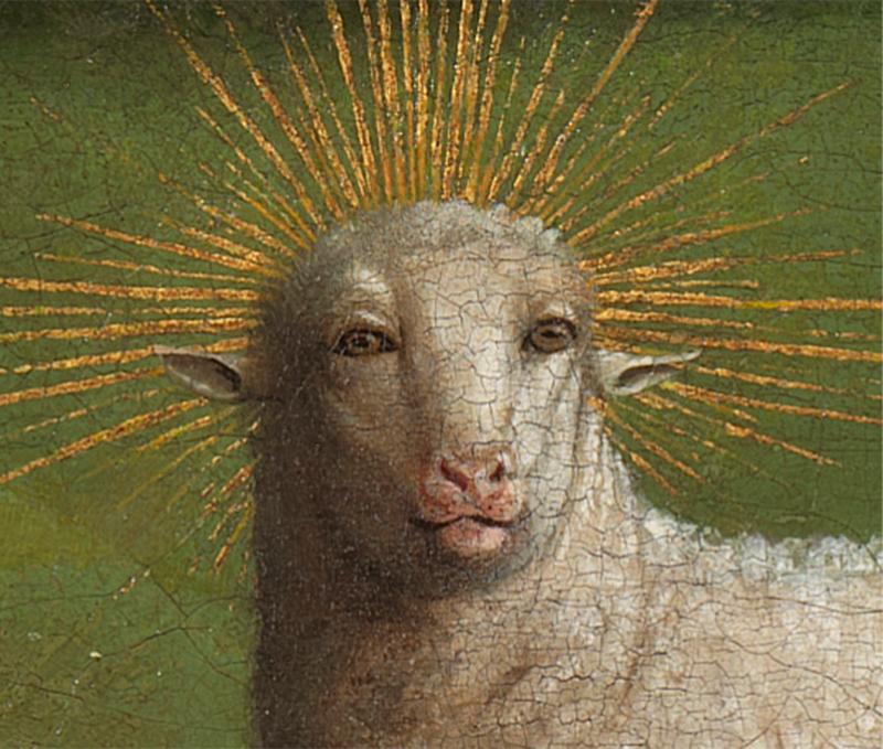 Ян ван Эйк, фрагмент панели «Поклонение агнцу», 1432. Собор Св. Бавона, Гент