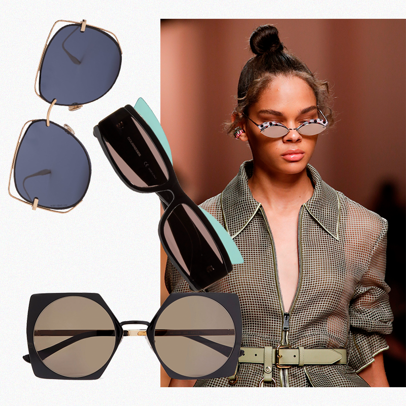 1. Dior Eyewear (Matches Fashion), 23 350 руб. 2. Courrèges (Net-a-Porter), £233 3. Marni, £330 Модель Fendi