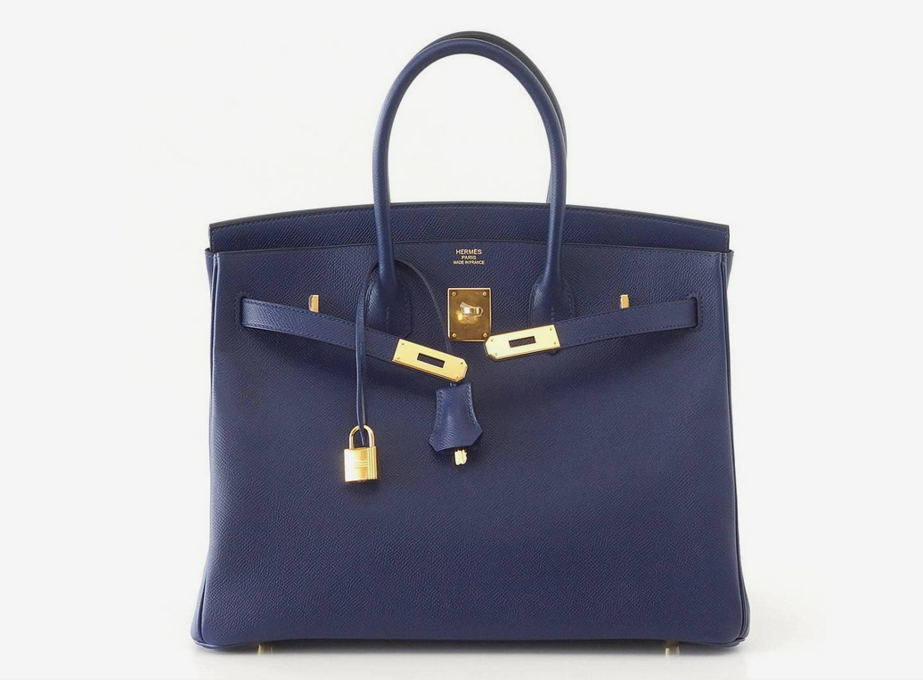 49c3f2118 HERMES BIRKIN 35 Bag BLUE SAPPHIRE Epsom Coveted Gold Hardware