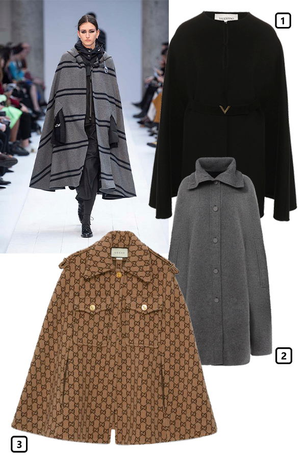 Max Mara, осень-зима 2020/21  1) Кейп Valentino, 264000 руб. (ЦУМ)  2) Кейп Loro Piana, 460000 руб. («Барвиха Luxury Village»)  3) Кейп Gucci, 165000 руб. (Gucci)