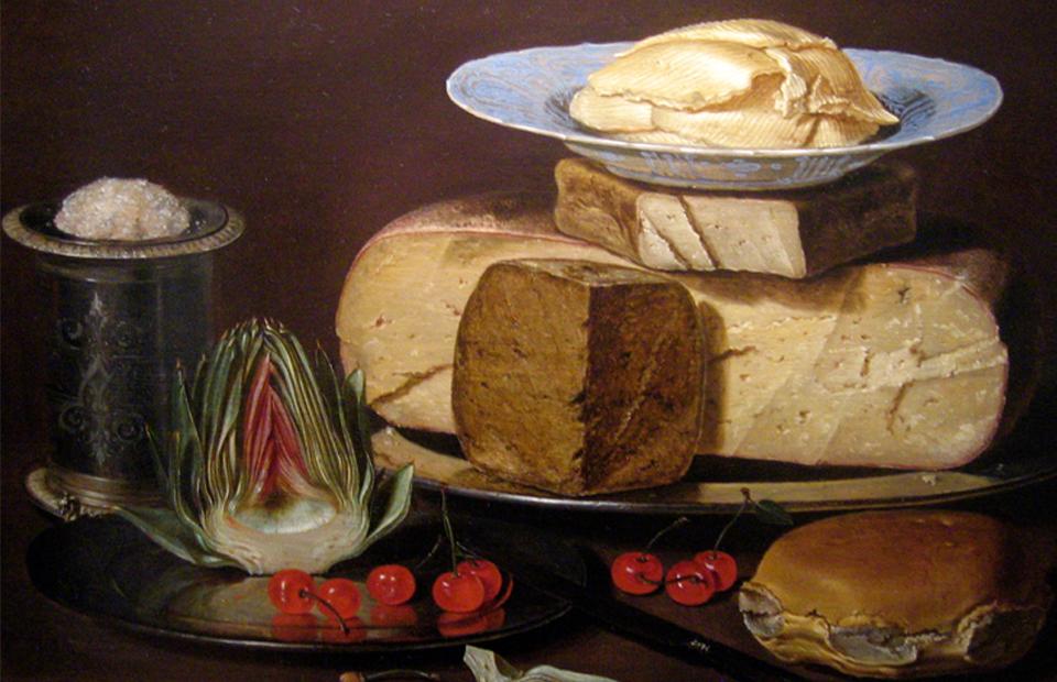 «Натюрморт с сырами, артишоком и вишнями» | Клара Петерс