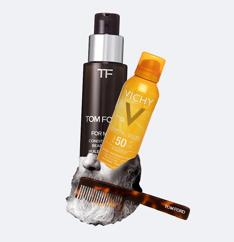 Кондиционирующее масло и расческа для бороды For Men, Tom Ford  Увлажняющий спрей Capital Soleil SPF 50, Vichy
