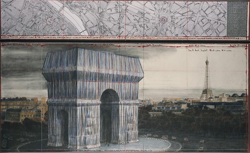 Христо,эскизы проекта Arc de Triomphe, галерея Guy Pieters