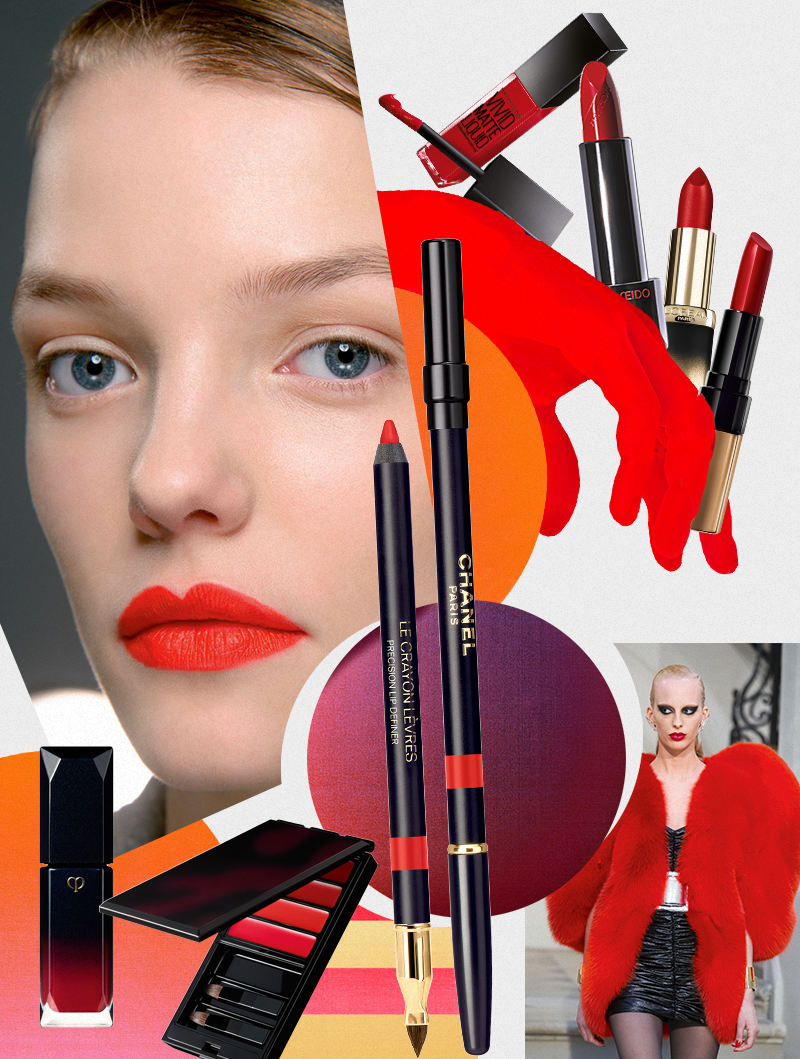 Помады: Gold Obsession (оттенок «Рубиновое золото»), L'Oreal Paris; Rouge Rouge (оттенок 501), Shiseido; Luxe Lip Color (оттенок 28), Bobbi Brown; Rouge Liquid Eclat (оттенок 18), Cle de Peau Beaute ;Жидкая губная помада Vivid Matte Liquid, Maybelline New York  Палетка блесков для губ Lip color (оттенок 1), Serge Lutens Контурный карандаш для губ Le Crayon Levres (оттенок 1), Chanel