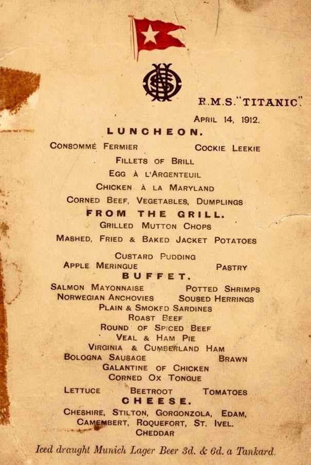 Меню пассажиров первого класса «Титаника»