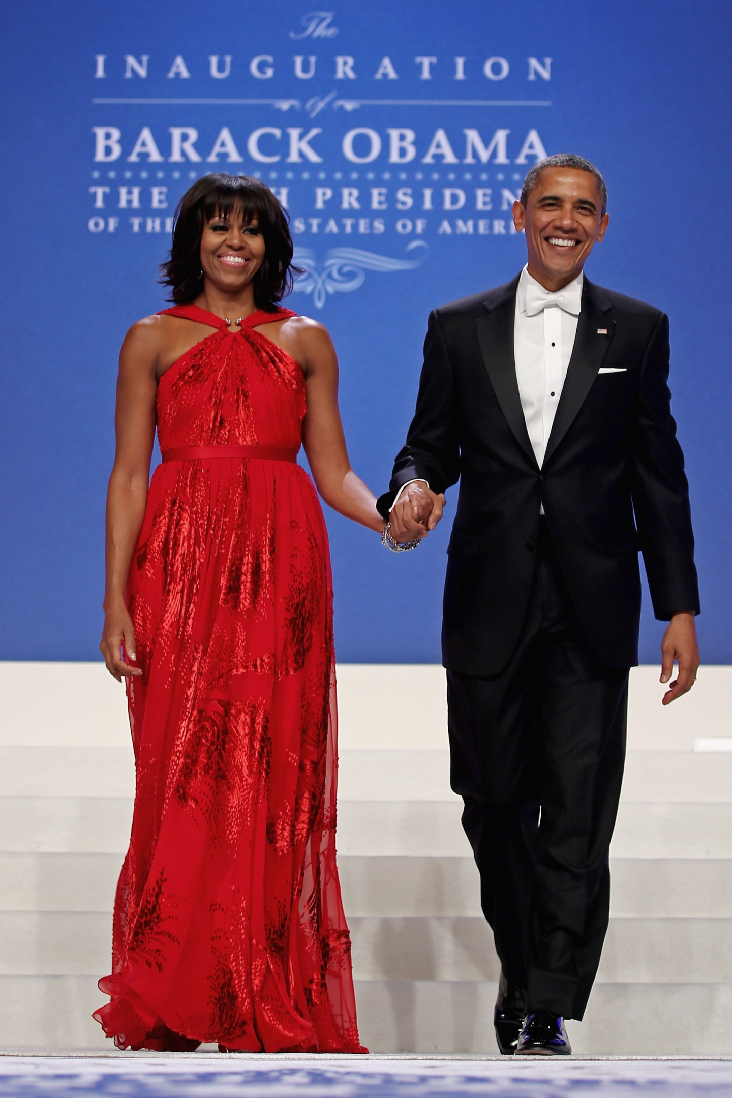 Мишель Обама в платье Jason Wu и Барак Обама в смокинге Hart Schaffner Marx, инаугурационный бал, 2013 год