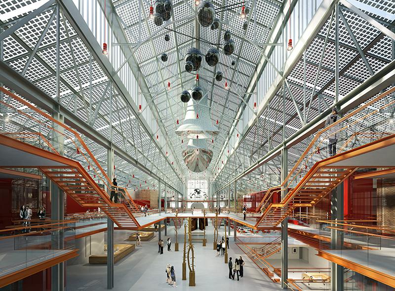 Эскиз внутреннего пространства ГЭС-2, созданный архитектурным бюро Renzo Piano Building Workshop