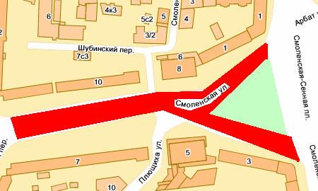 Закрыто движение по Смоленской улице