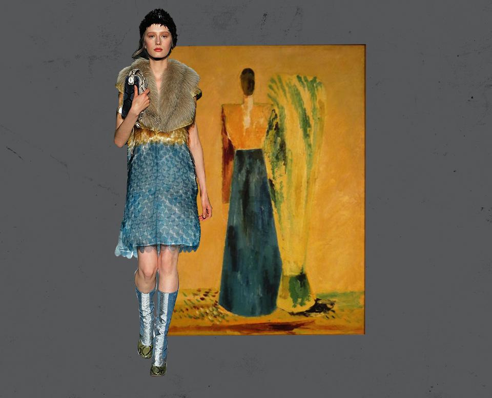 Prada, осень-зима 2011/2012 — Эдуард Криммер. «Женщина со снопом сена», 1929-1930 год