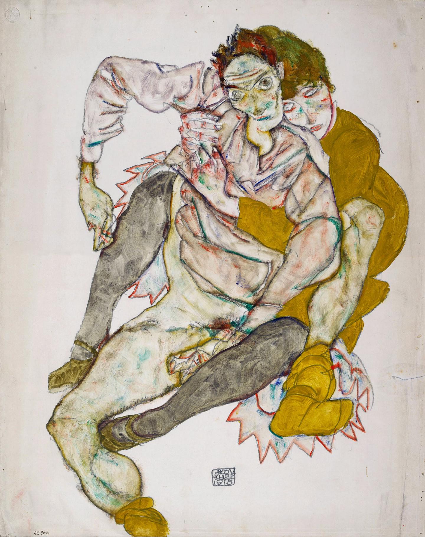 Эгон Шиле. «Сидящая пара», 1915