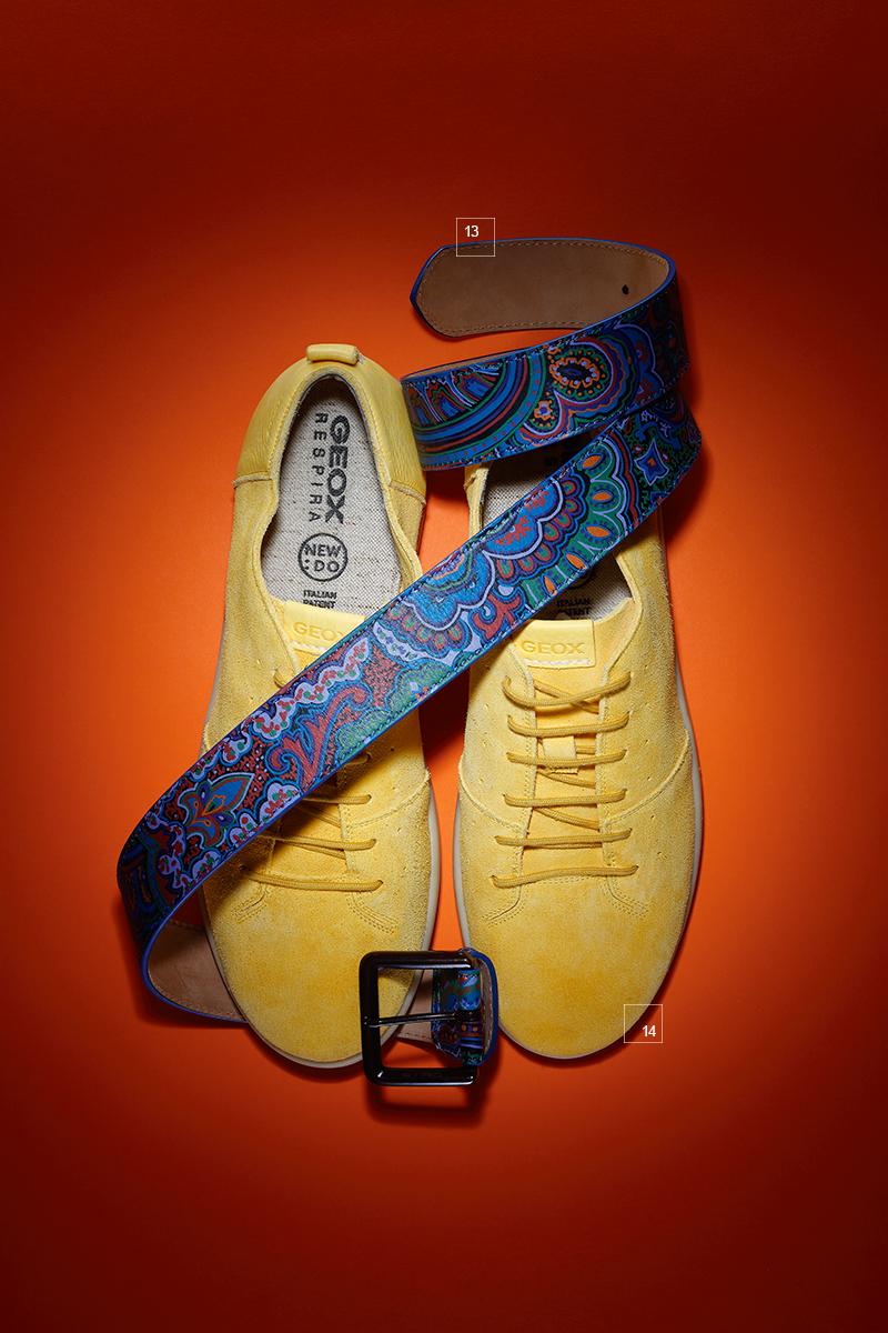 13 | Ремень из кожи с принтом, Etro 14 | Замшевые кроссовки, Geox