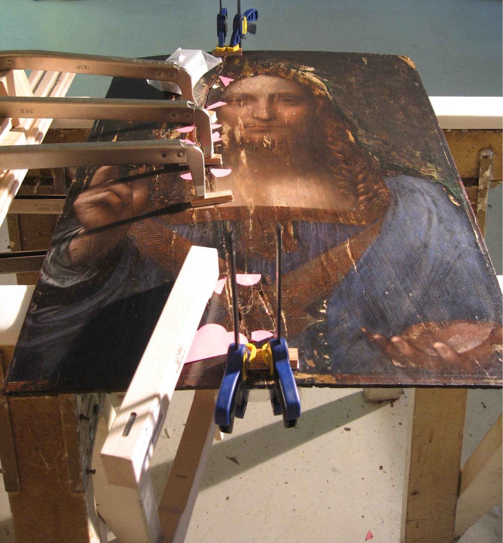 «Спаситель мира» во время реставрации, 2006