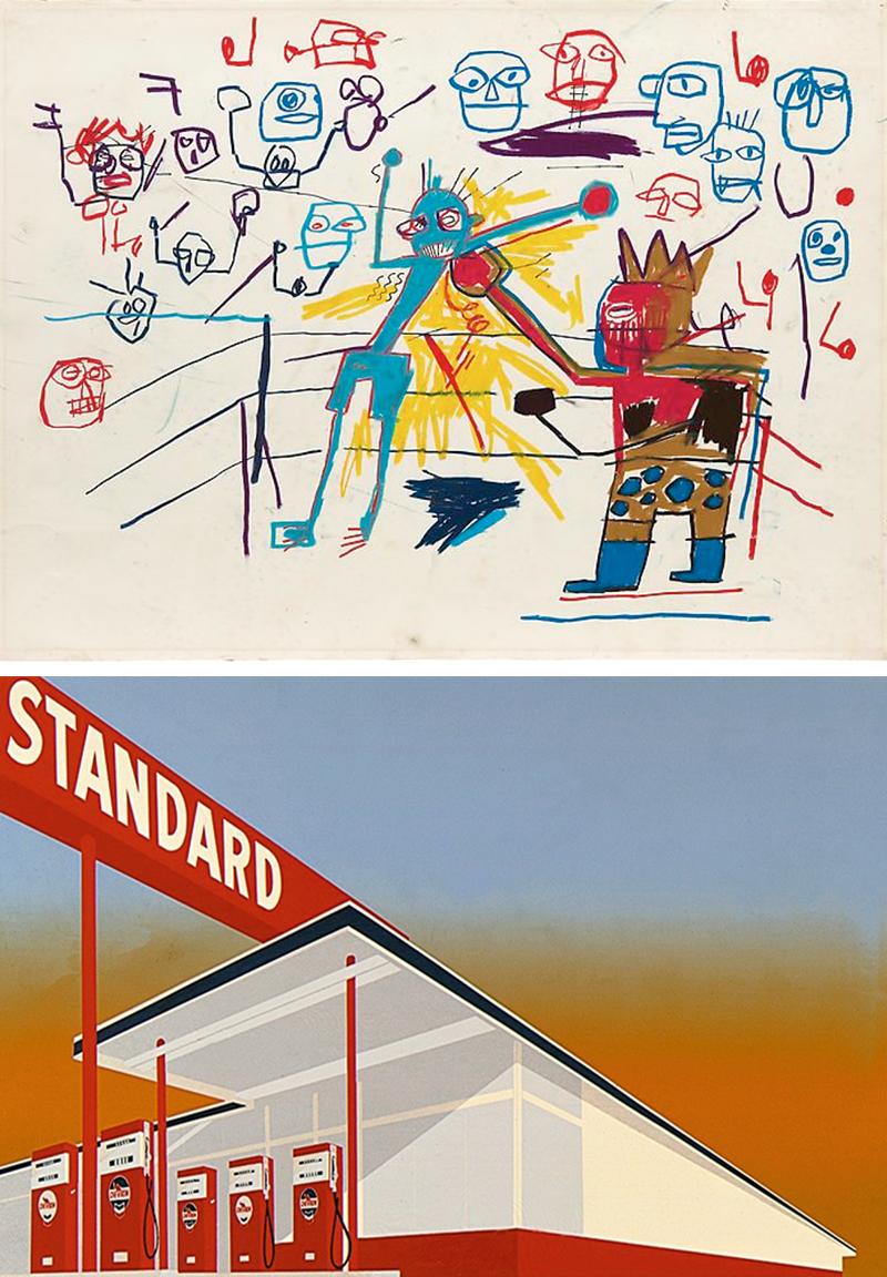 Жан-Мишель Баскиа.«Без названия». По словам актера, Баскиа наряду с Энди Уорхолом и Джулианом Шнабелем были его героями в 1980-х, и именно с них он начал понимать искусство.  Эд Рушей. «Автозаправка Standard». С творчеством лос-анджелесских художников, в том числе звездного Эда Рушея, Ди Каприо познакомил иллюстратор Роберт Уильямс.