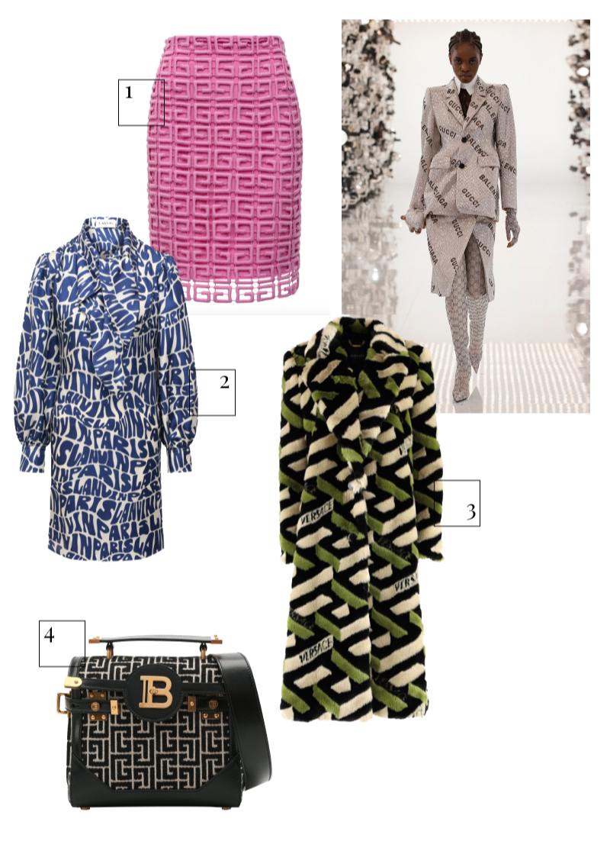Gucci, осень-зима 2021/22 1. Юбка Givenchy, 94 750 руб. (ЦУМ) 2. Платье Lanvin, 153 000 руб. (ЦУМ) 3. Шуба Versace, 248 000 руб. (Барвиха Luxury Village) 4. Сумка Balmain, 164 500 руб. (Барвиха Luxury Village)