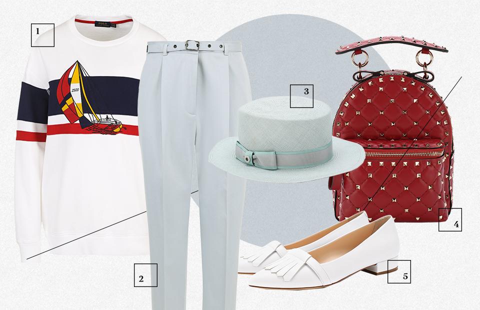1. Пуловер Ralph Lauren — ₽13 050 2. Брюки Bottega Veneta — ₽49 650 3. Шляпа Loro Piana — ₽59 950 4. Рюкзак Valentino — ₽143 000 5. Туфли Kiton — ₽54 950