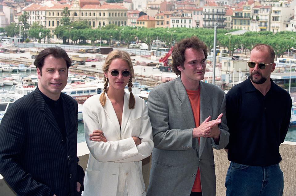 Джон Траволта, Ума Турман, Квентин Тарантино и Брюс Уиллис на 47-м Каннском кинофестивале 1994 г.