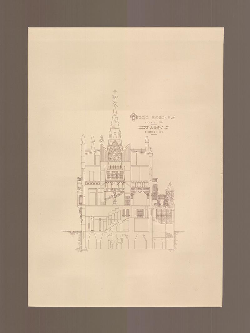 Дворец Гуэля: фрагмент чертежа, 1910