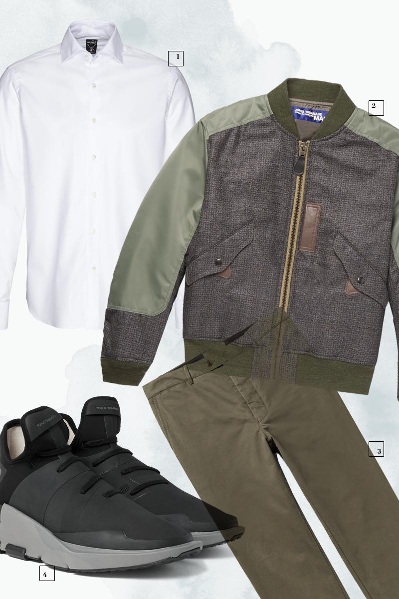 1 | Рубашка Van Laack; 2 | Бомбер Junya Watanabe;3 | Брюки Officine Generale; 4| Кроссовки Y-3