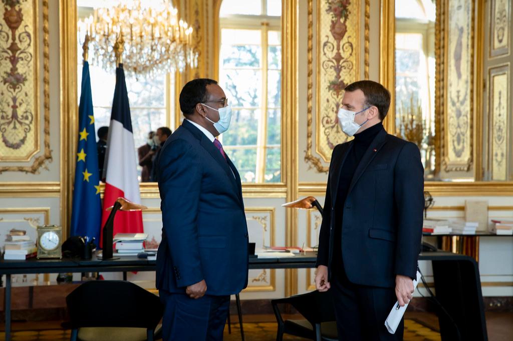 Эмманюэль Макрон на встрече сДемеке Меконненом, заместителем премьер-министра и министром иностранных дел Эфиопии, 2020