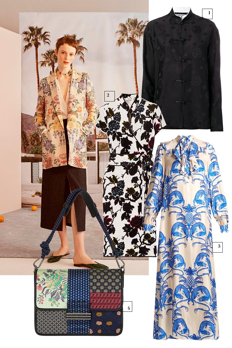 Кадр из лукбука Carolina Herrera  1) Alexander Wang (Farfetch), 52 457 руб. 2) Diane von Furstenberg (Net-a-Porter), £492 3) Gucci (Matches Fashion), 191 100 руб. 4) Etro,цена по запросу