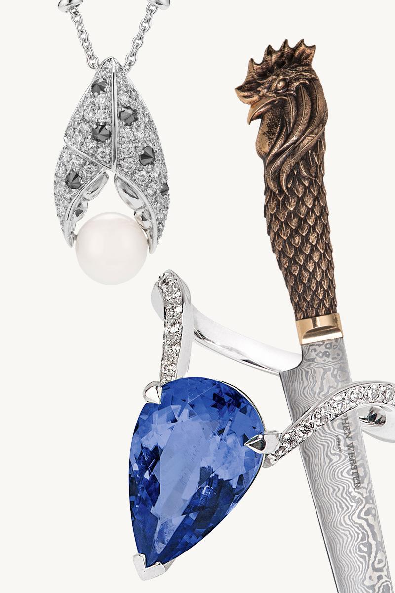 Подвеска на цепи из коллекции Jewels Verne  Часть кольца-трансформера Magnipheasant, которую можно носить отдельно  Нож Cock, Cock & Bull Carving Set