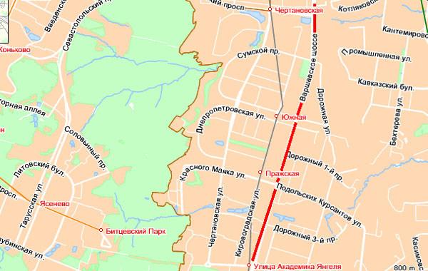 Затор на Варшавском шоссе от Балаклавского проспекта до ул. Академика Янгеля