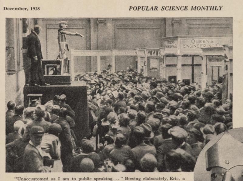 Робот Эрик на открытии выставки Британского общества инженеров, 1928