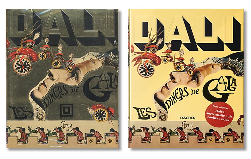 Обложка первого издания Les Diners de Gala, 1973 и обложка переизданной книги, 2016