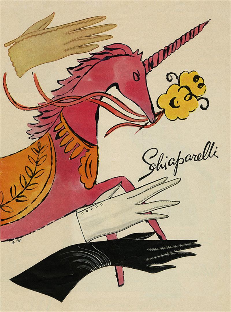 Энди Уорхол. Иллюстрация с перчаткамиSchiaparelli для рекламы дома на американском рынке