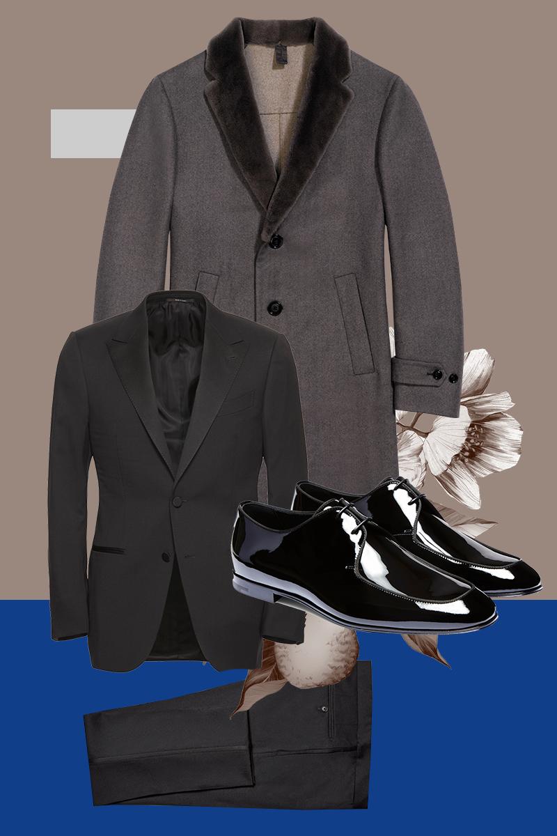 Пальто, смокинг, лакированные дерби, все — Ermenegildo Zegna