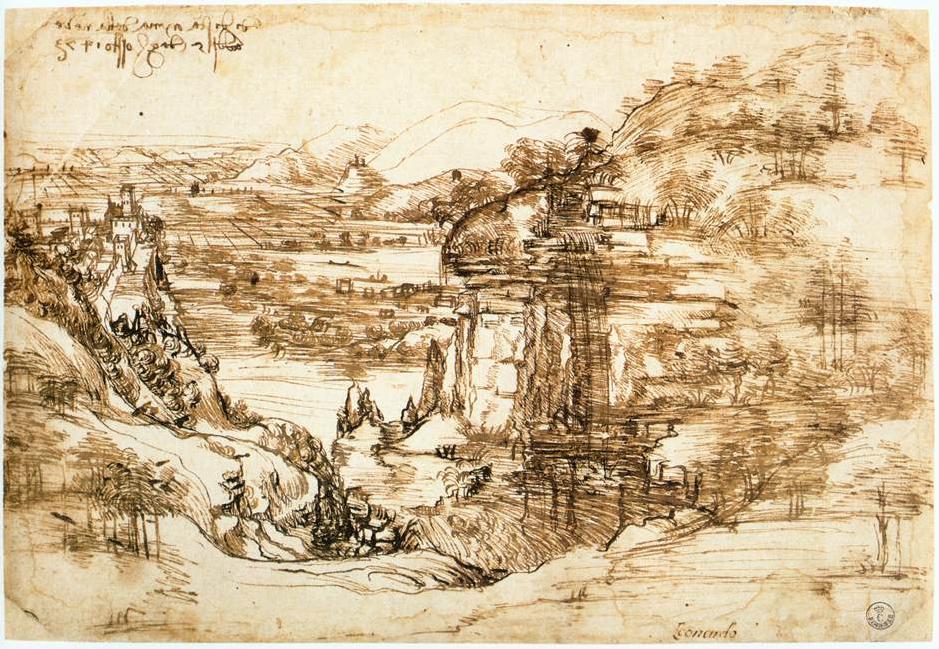 Леонардо да Винчи. Пейзаж Санта-Мария-делла-Неве, 1473