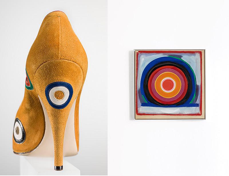 Туфли-лодочкиSalvatore Ferragamo по мотивам картины Кеннета Ноланда, «Без названия», 1958 г.