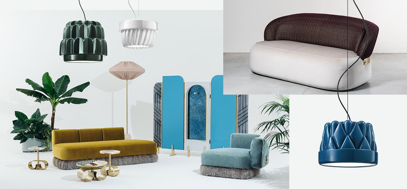 Мебельная коллекция The Happy Room для Fendi, 2016 Софа Visiera для Nilufar, 2017 Люстры Babette для Torremato, 2017