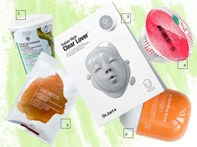 Альгинатная маска для комбинированной и жирной кожи Eva Esthetic Альгинатная очищающая маска Clear Lover, Dr. Jart+ Моделирующая альгинатная маска Acerola, Ettang Альгинатная восстанавливающая маска для лица Skin Needs, Л'Этуаль Альгинатная маска для лица Protein 3D Modelling Bomb, V Prove
